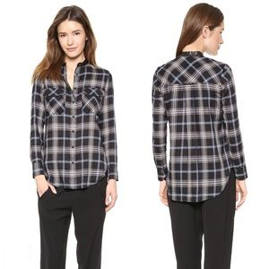 Vince leather trim plaid button down top